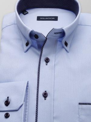 Błękitna klasyczna koszula z kontrastami