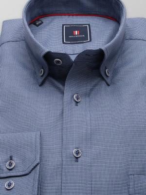 Niebieska taliowana koszula w mikrowzór