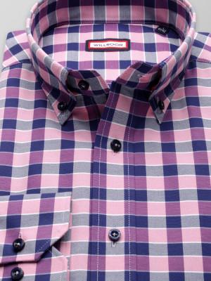 Taliowana koszula w różowo-granatową kratę