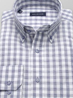 Lniana klasyczna koszula w kratkę