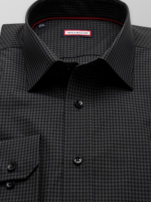 Czarna taliowana koszula w szarą kratkę
