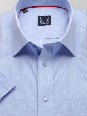 Błękitna taliowana koszula w kratkę