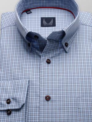 Niebieska klasyczna koszula w drobną brązową kratkę