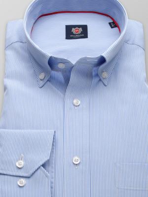 Błękitna klasyczna koszula w białe prążki