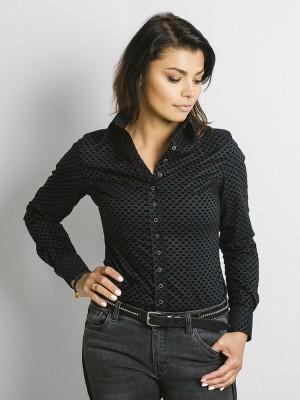 Grafitowa bluzka damska w czarne grochy