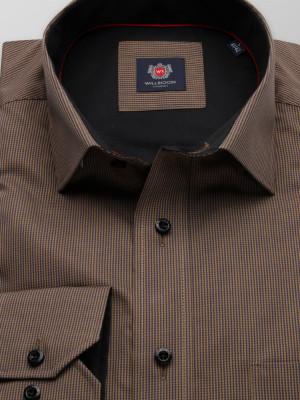Brązowa klasyczna koszula w pepitkę