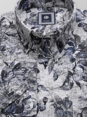 Szara klasyczna koszula w kwieciste wzory