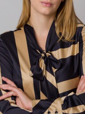 Bluzka w czarne i złote pasy z kokardą