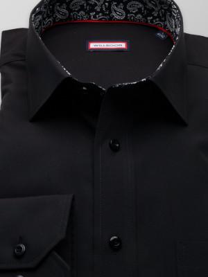 Czarna klasyczna koszula z kontrastami