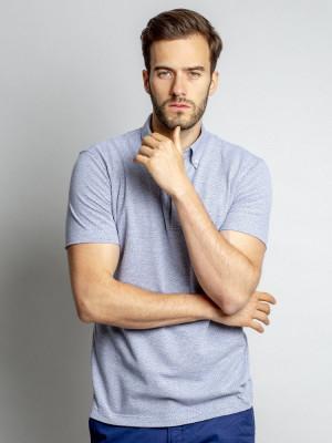 Szara koszulka polo w kropki