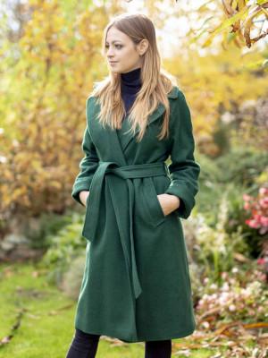 Zielony płaszcz damski