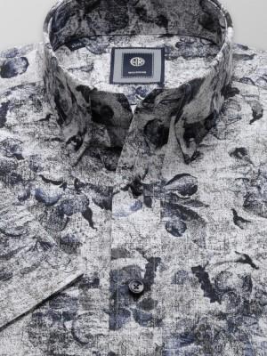 Szara taliowana koszula w kwieciste wzory