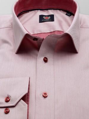 Łososiowa taliowana koszula z kontrastami