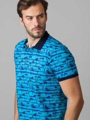 Niebieska koszulka polo w palmy