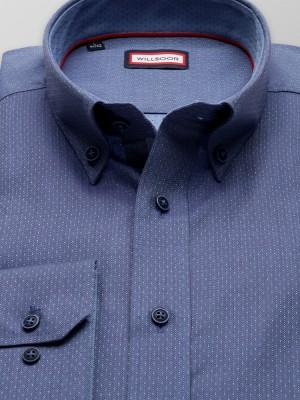 Niebieska taliowana koszula w jodełkę i kropki