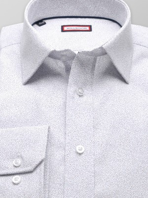 Biała taliowana koszula w drobne kropki