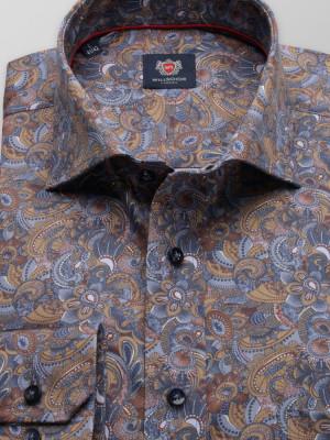 Brązowa klasyczna koszula we wzory paisley