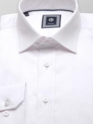 Biała taliowana koszula w prążek