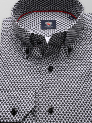 Taliowana koszula w czarno-białą kratkę
