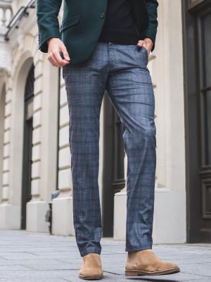 Szare spodnie męskie w kratkę glencheck