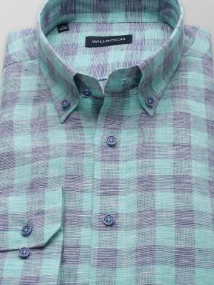 Lniana taliowana koszula w kratę