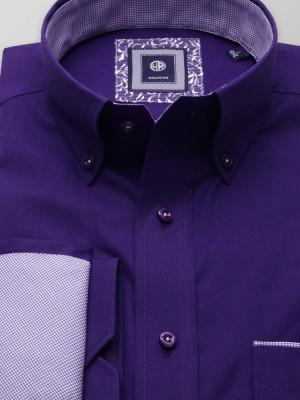 Ciemnofioletowa klasyczna koszula z kontrastami