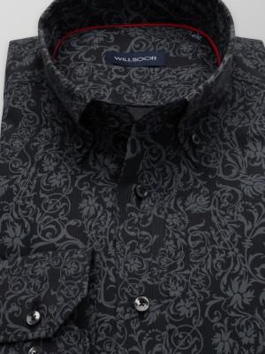 Czarna taliowana koszula w szary wzór