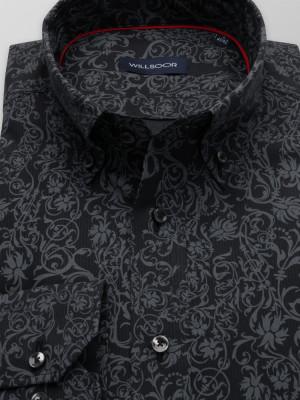 Ciemnogranatowa taliowana koszula w błękitny wzór