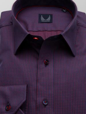 Granatowo-czerwona taliowana koszula