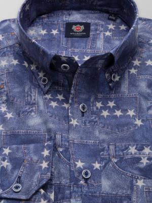 Niebieska klasyczna koszula w gwiazdki