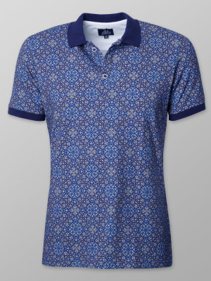 Granatowa koszulka polo we wzory