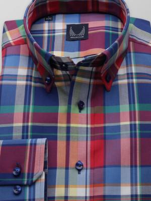 Taliowana koszula w kolorową kratę