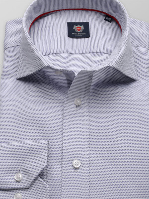 Biała taliowana koszula w drobny wzór