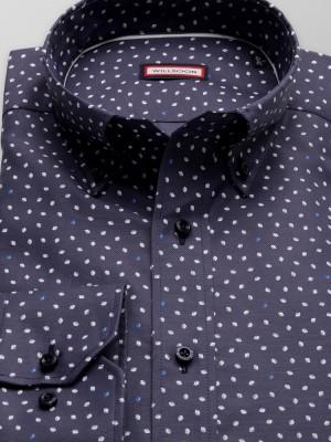 Granatowa taliowana koszula w białe łezki