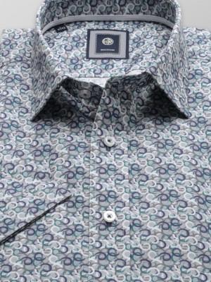 Szara taliowana koszula w kolorowe okręgi