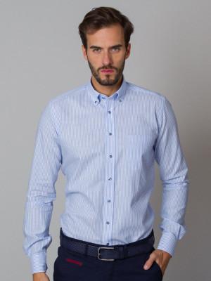 Błękitna klasyczna koszula w paski