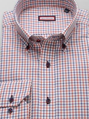 Biała taliowana koszula w granatowo-pomarańczową kratkę
