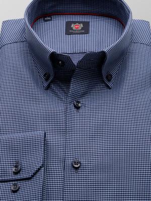 Błękitna taliowana koszula w granatowe kropki