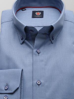 Niebieska taliowana koszula w drobne gwiazdki
