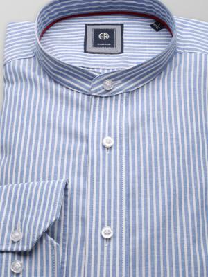 Błękitna taliowana koszula w białe paski