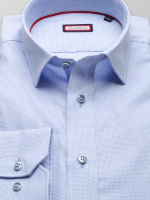 Błękitna taliowana koszula w psi ząb