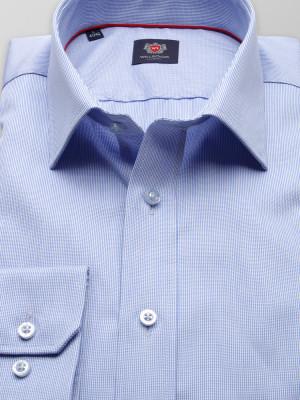 Błękitna taliowana koszula w prążek