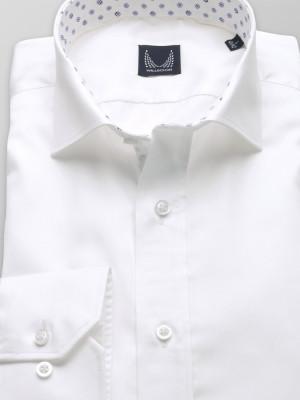 Biała taliowana koszula z kontrastami