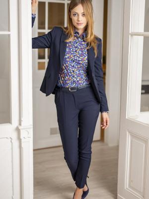 Granatowe klasyczne spodnie garniturowe typu Long Size