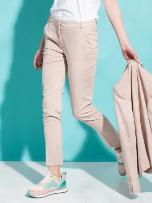 Beżowe klasyczne spodnie garniturowe