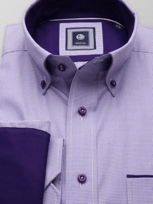 Klasyczna koszula w fioletowo-białą pepitkę z kontrastami