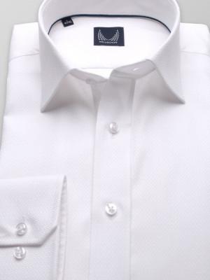 Biała taliowana koszula w mikrowzór