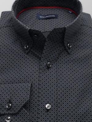 Czarna taliowana koszula w szare kwiatki