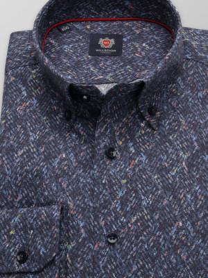 Granatowa taliowana koszula w drobny wzór
