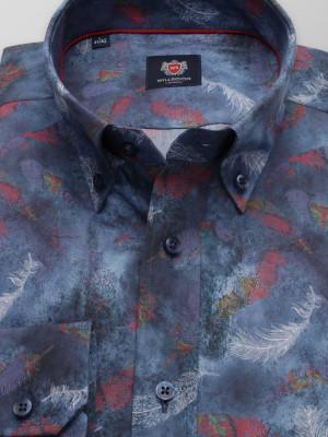 Granatowa taliowana koszula w kolorowe pióra